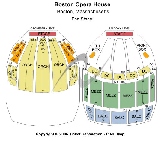 Boston opera house seating chart tickets events and schedule