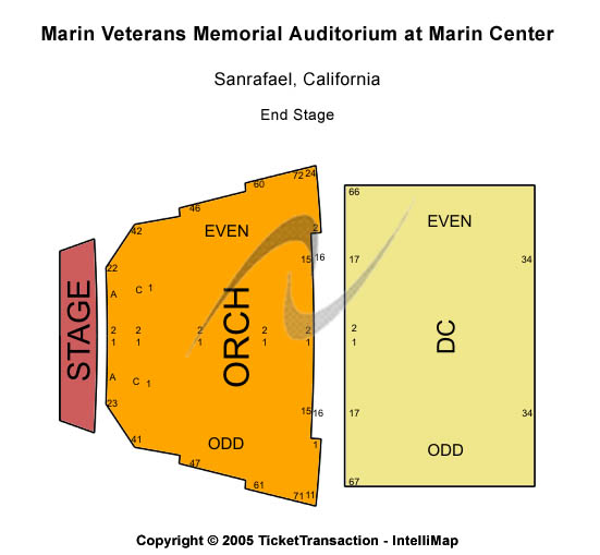 Marin Veterans Memorial Auditorium Seating Chart