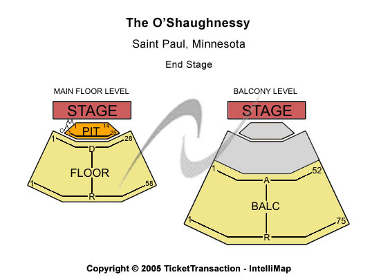 Tori Amos The O'Shaughnessy Seating Chart