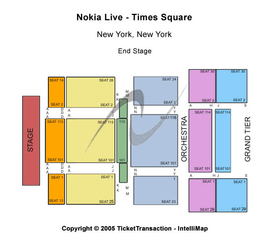 times square map. Times Square seating map