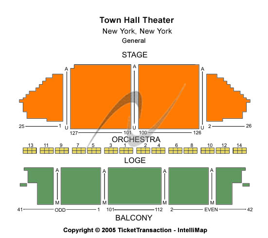 Town Hall Theatre - NY Seating Chart