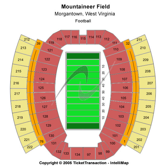 Mountaineer Field at Milan Puskar Stadium Seating Chart