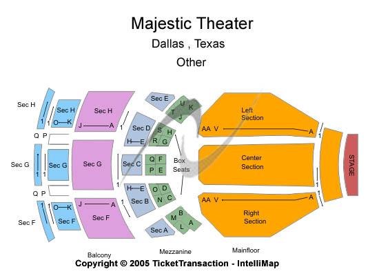 Majestic Theatre - Dallas Seating Chart Plan