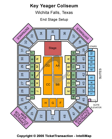 Kay Yeager Coliseum Seating Map