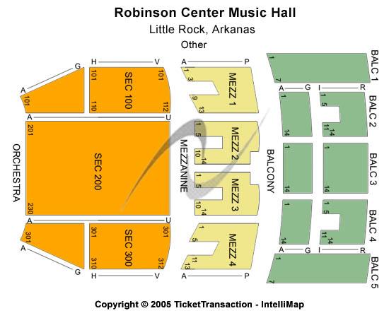Robinson Center Performance Hall Seating Chart Plan