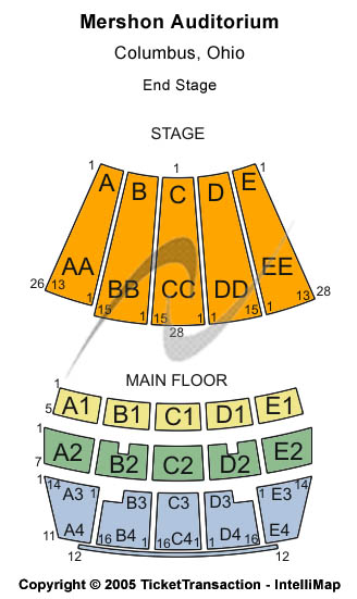 seating chart for Mershon Auditorium End Stage - eventticketscenter.com