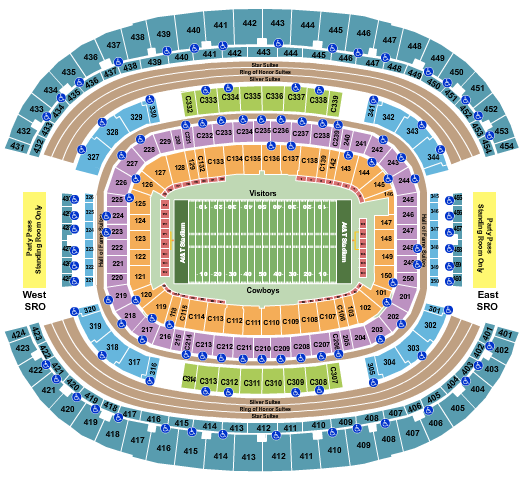 seating chart for AT&T Stadium Football - eventticketscenter.com