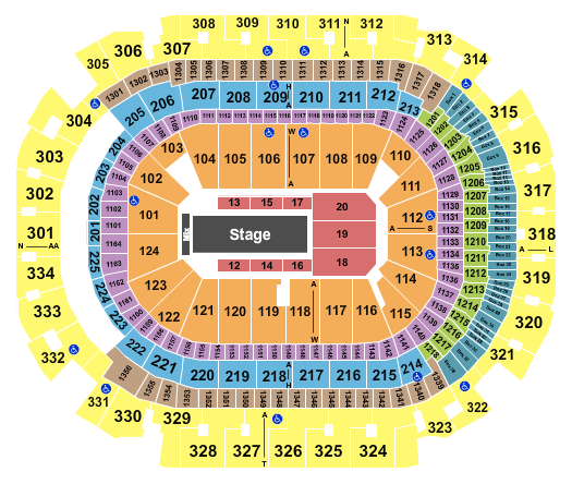 seating chart for American Airlines Center Bad Bunny 2 - eventticketscenter.com