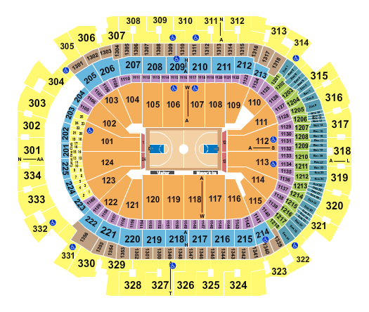 seating chart for American Airlines Center Basketball - eventticketscenter.com