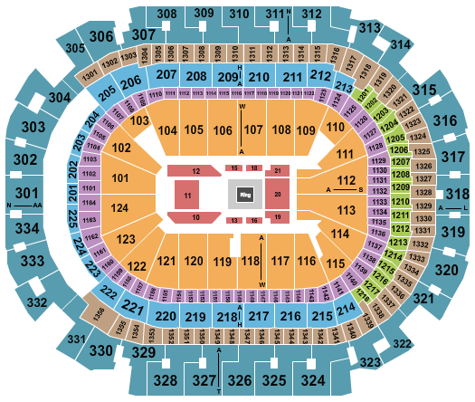 seating chart for American Airlines Center Boxing - eventticketscenter.com