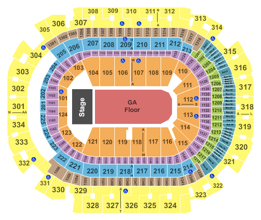 seating chart for American Airlines Center End Stage GA - eventticketscenter.com