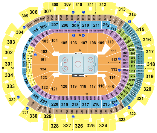 seating chart for American Airlines Center Hockey - eventticketscenter.com
