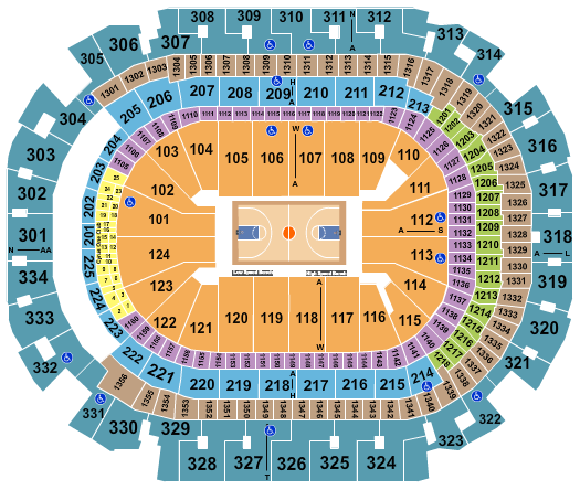 seating chart for American Airlines Center NCAA Basketball - eventticketscenter.com