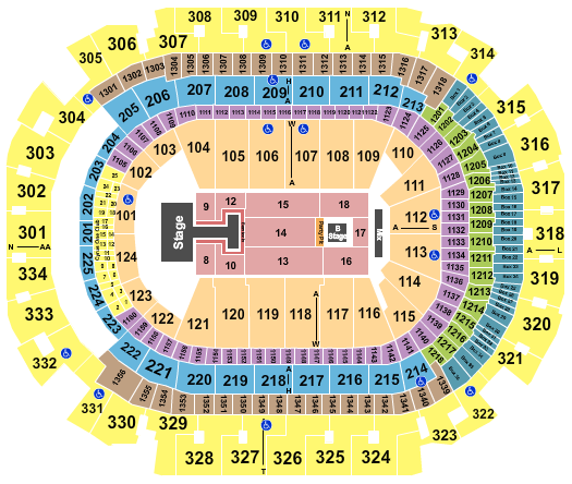 seating chart for American Airlines Center NKOTB 2022 - eventticketscenter.com