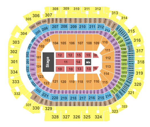 seating chart for American Airlines Center The Cure - eventticketscenter.com
