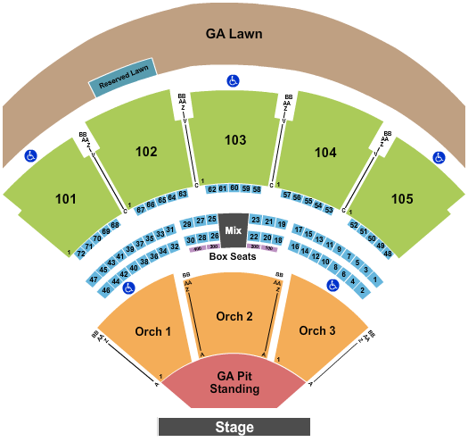 Ameris Bank Amphitheatre Floor Plan