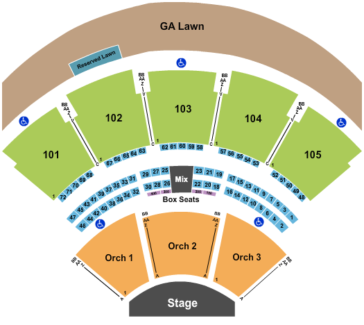 Ameris Bank Amphitheatre End Stage seating chart - eventticketscenter.com