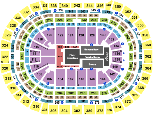 seating chart for Ball Arena Gold Over America - eventticketscenter.com