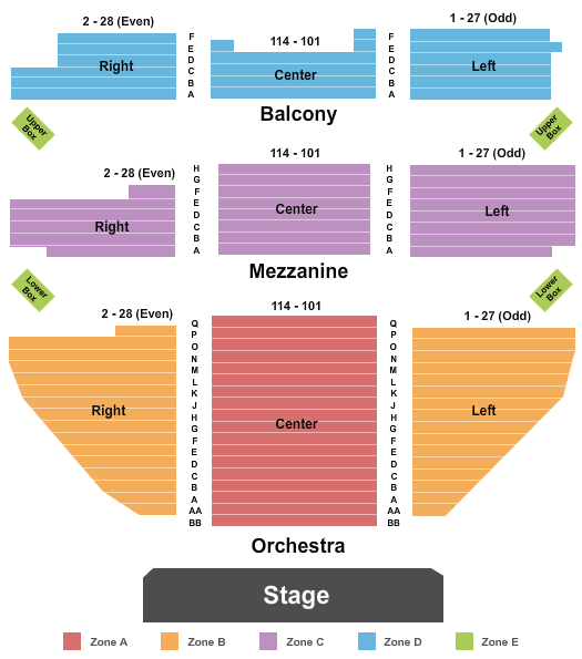 Belasco Theatre - NY End Stage Int Zone seating chart - eventticketscenter.com