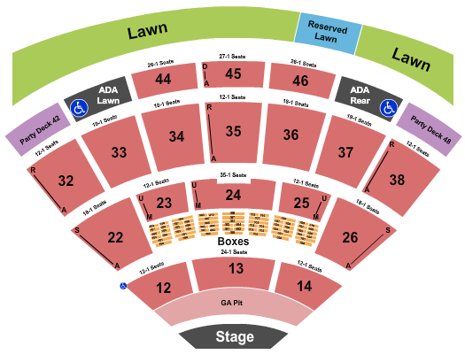 Blossom Music Center Endstage GA Pit - Resv Lawn Rgt seating chart - eventticketscenter.com