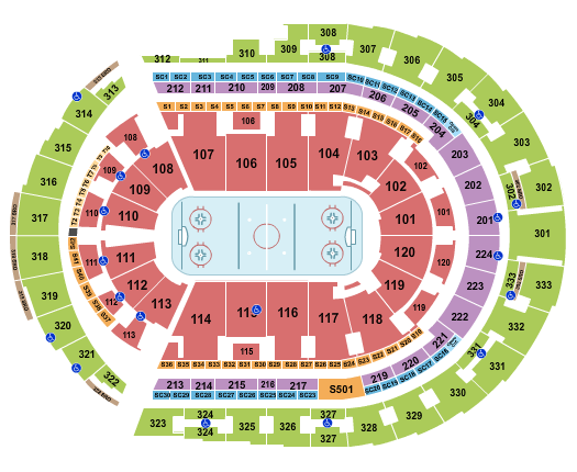 Bridgestone Arena Hockey Rows seating chart - eventticketscenter.com