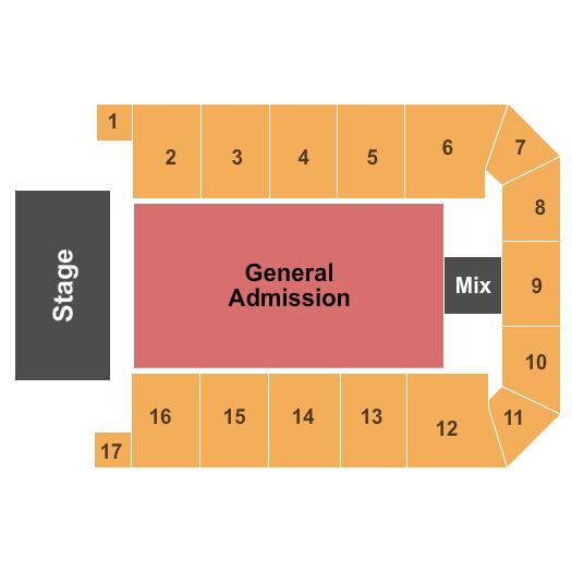 seating chart for Canton Memorial Civic Center Endstage GA Floor - eventticketscenter.com