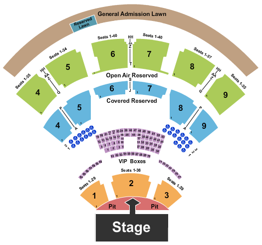 seating chart for Coastal Credit Union Music Park at Walnut Creek Backstreet Boys - eventticketscenter.com