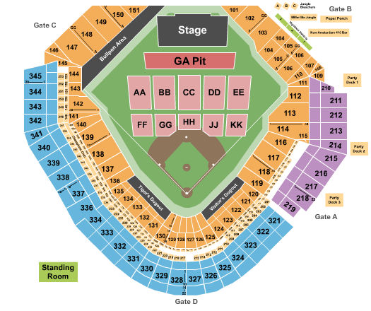 Comerica Park seating chart event tickets center