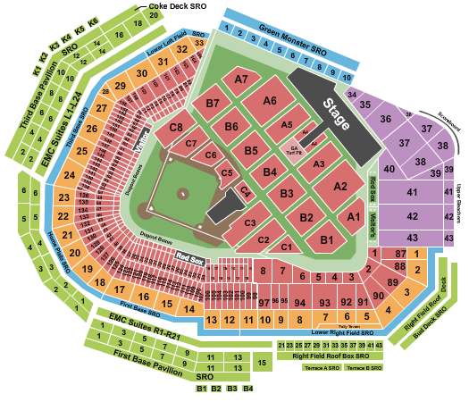 seating chart for Fenway Park Aerosmith - eventticketscenter.com