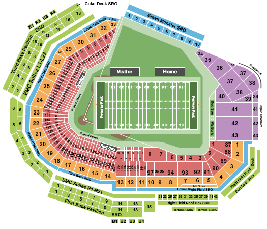 seating chart for Fenway Park Football - eventticketscenter.com