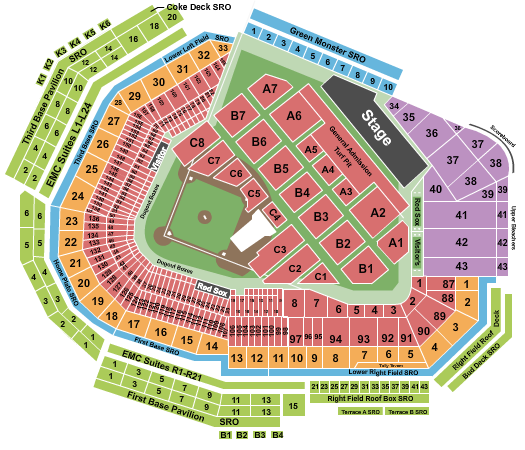 seating chart for Fenway Park Guns N Roses - eventticketscenter.com
