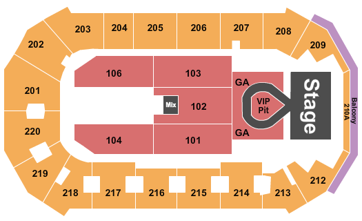 seating chart for Findlay Toyota Center Toby Keith - eventticketscenter.com