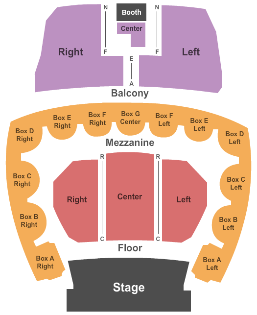 Five Flags Center - Theatre Seating Chart Plan
