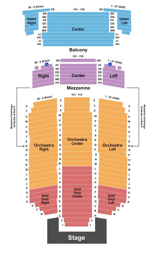 Fox Performing Arts Center Seating Chart Plan