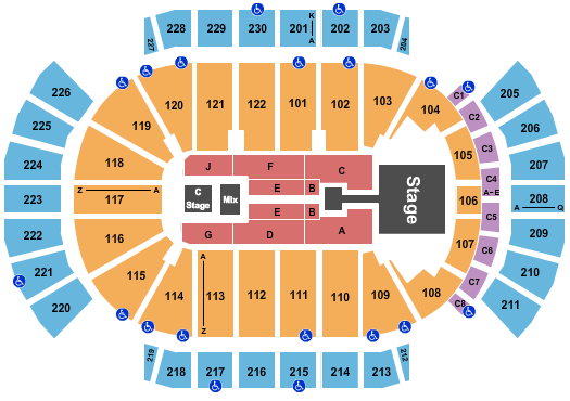 seating chart for Gila River Arena Enrique Iglesias - eventticketscenter.com