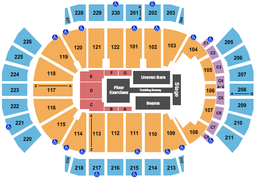seating chart for Gila River Arena Gold Over America - eventticketscenter.com