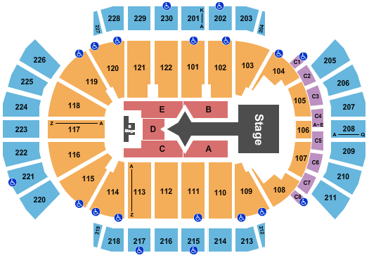 seating chart for Gila River Arena Justin Bieber - eventticketscenter.com