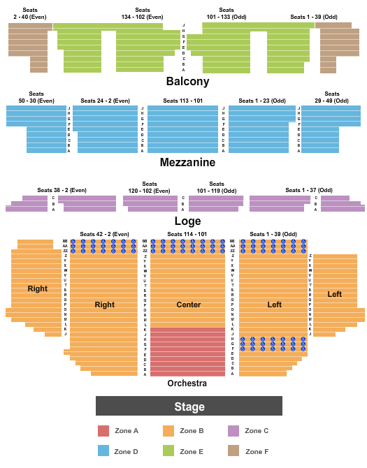 Golden Gate Theatre Seating Chart Plan