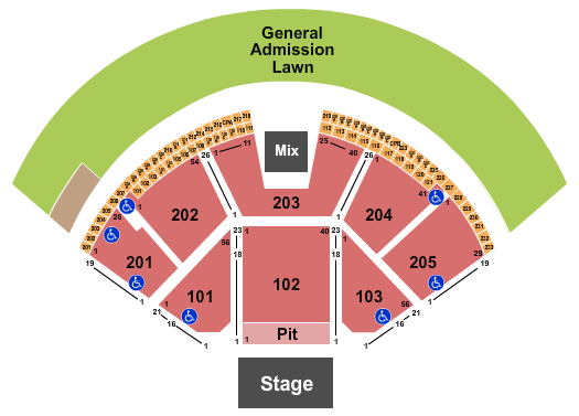 Gorge Amphitheatre End Stage Pit seating chart - eventticketscenter.com