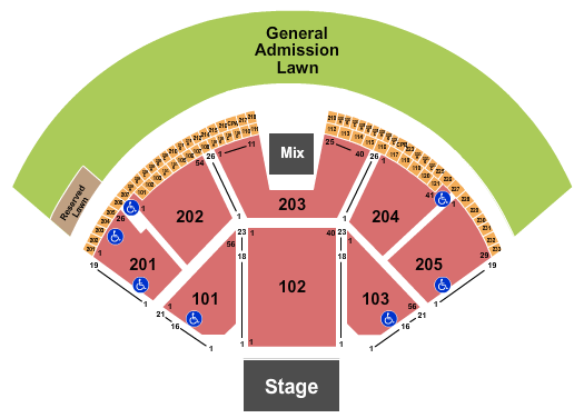 Gorge Amphitheatre End Stage seating chart - eventticketscenter.com