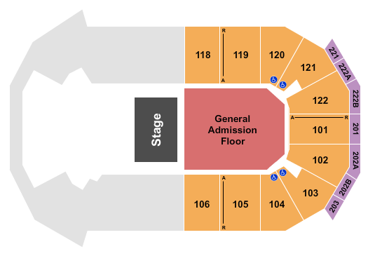 seating chart for HEB Center at Cedar Park Half House GA Floor - eventticketscenter.com