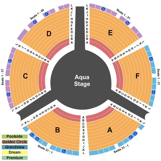 Le Reve Theater at Wynn Las Vegas Seating Map