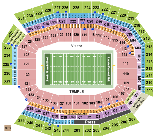 Lincoln Financial Field seating chart event tickets center