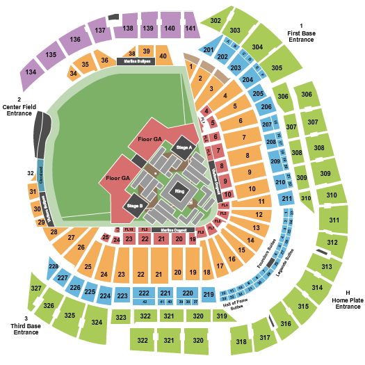 seating chart for loanDepot park Boxing - eventticketscenter.com