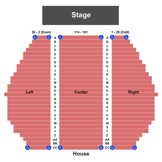 Loos Center for the Arts At the Woodstock Academy Seating Chart