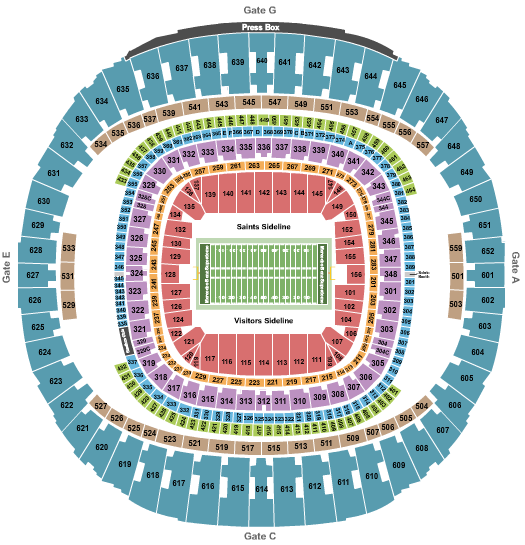 Caesars Superdome seating chart event tickets center