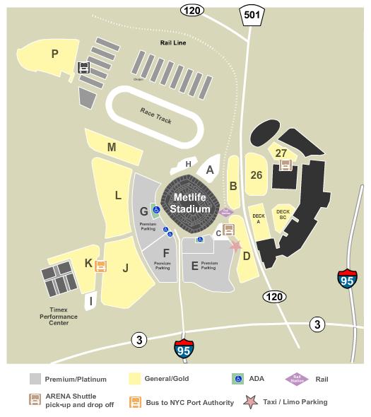 MetLife Stadium Parking Lots Floor Plan