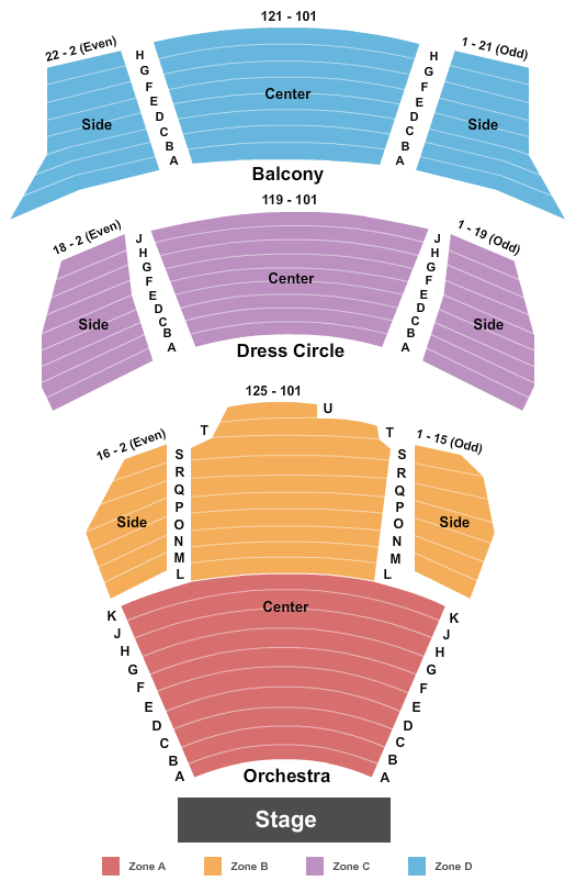 Millennium Hudson Theatre Seating Map