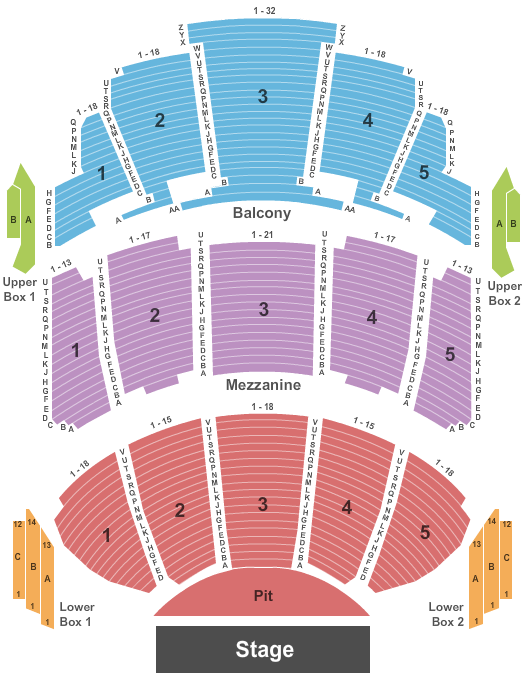 seating chart for Miller High Life Theatre End Stage - eventticketscenter.com