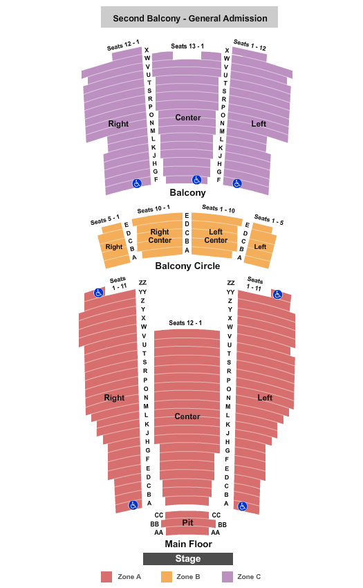 Moore Theatre - WA End Stage Zone seating chart - eventticketscenter.com